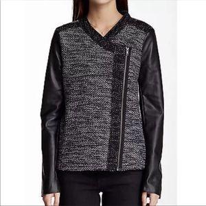 Ella Moss | Knit Jacket Faux Leather Jacket M